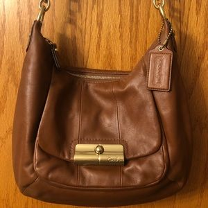 Authentic Tan Leather Coach Shoulder Bag